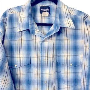 Wrangler Plaid Long Sleeve Snap Button Shirt, 3XL